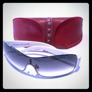 Prada men's shield sunglasses white SPS52E